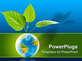 PowerPoint template displaying globe with leaves. Concept for environment conservations in the background.