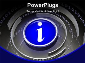 Glowing blue info symbol at the center of a simple array of steel presentation background