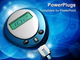 PowerPoint template displaying glucometer showing 102 glucose level in blue color background