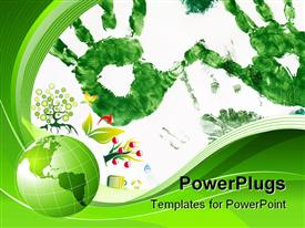 PowerPoint template displaying green abstract lines background - composition of curved lines and globe