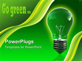 PowerPoint template displaying green eco light bulb with space for write