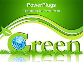 PowerPoint template displaying a beautiful depiction of green Earth with a green background