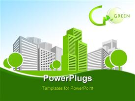 PowerPoint template displaying single green building shines among many grey buildings in the background.