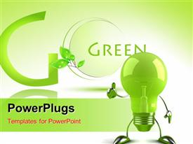 PowerPoint template displaying green environment in the background.