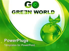 PowerPoint template displaying green foliage depiction with world globe and copy space