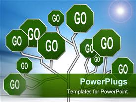 PowerPoint template displaying green go sign posts interconnected on bright blue sky background