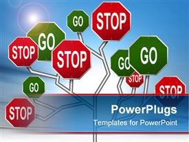 PowerPoint template displaying tree of red stop and green go signs