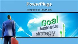 PowerPoint template displaying 3D businessman looks up at goal on business stairs