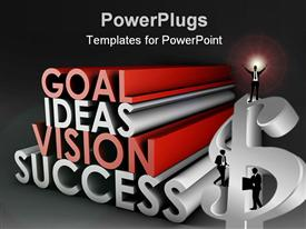 PowerPoint template displaying 3D writing on business with successful men standing on dollar sign