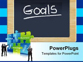 PowerPoint template displaying black chalkboard with goals written and business jigsaw puzzle