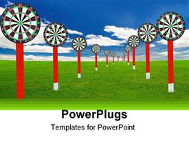 PowerPoint template displaying abstract depiction of may red and white dart boards