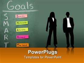 PowerPoint template displaying silhouettes of two business people in front of blackboard with SMART Goals sticky notes