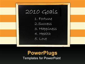 PowerPoint template displaying resolutions and objectives for the new year