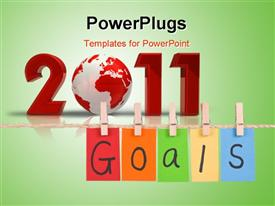 PowerPoint template displaying goals Colorful words hang on rope by wooden peg