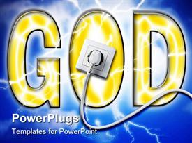 PowerPoint template displaying power of god with white socket in the background.