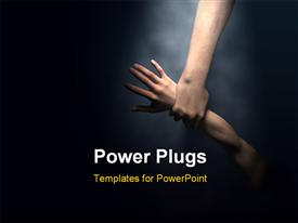 PowerPoint template displaying gods hand saving man - 3D depiction with some painting in the background.