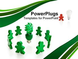 PowerPoint template displaying circle of colored wooden people surrounding a bright green compact fluorescent light bulb in the background.