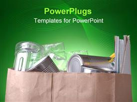 PowerPoint template displaying grocery bag filled with cans magazines and plastic bottles with a glowing green background