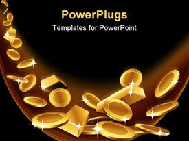 PowerPoint template displaying gold coins and gold bars are falling down in the background.