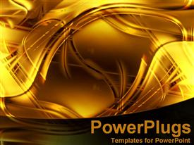 PowerPoint template displaying gold abstract lighting and swirls