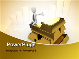 PowerPoint template displaying man with gold bricks