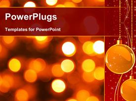 PowerPoint template displaying gold Christmas background from luminous lanterns in the background.