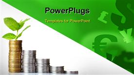 PowerPoint template displaying gold coins and plant