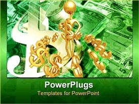 PowerPoint template displaying a figure holding the dollar figures
