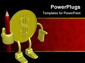 PowerPoint template displaying 3D gold coin figure with dollar sign holding red sharpened pencil, dollar bills on red and black background