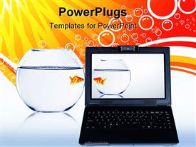 PowerPoint template displaying goldfish in jet water and black laptop