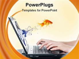 PowerPoint template displaying goldfish jump from laptop