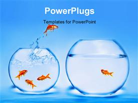 PowerPoint template displaying goldfish jumping out of the water