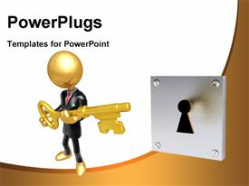 PowerPoint template displaying gold Guy Businessman Character
