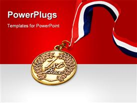PowerPoint template displaying red, white and blue colored ribbon attached to gold medal