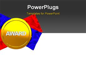 PowerPoint template displaying background with golden medal and ribbons on left side