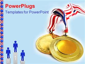 2 gold medals  prize powerpoint template