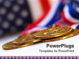 PowerPoint template displaying uSA flag background with four gold medals in front, US financial power