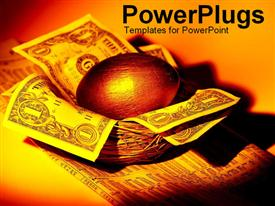 PowerPoint template displaying golden egg and money nest in the background.