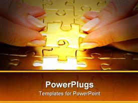 PowerPoint template displaying woman fingers holdings gold puzzle in combination