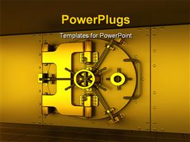 PowerPoint template displaying golden bank vault