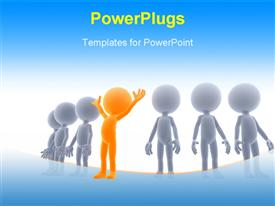 PowerPoint template displaying gold winner in a group. 3D little humans, business concept in the background.