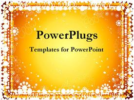 PowerPoint template displaying glowing golden background with white dot border