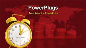 PowerPoint template displaying golden alarm clock with time is money sign in the background.