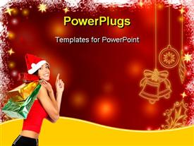 PowerPoint template displaying beautiful lady with Santa cap carrying shopping bags and snowflakes frame
