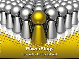 PowerPoint template displaying golden piece takes the lead with multiple chrome pieces