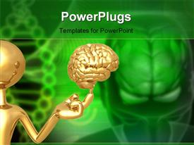 PowerPoint template displaying a person with a brain and a greenish background