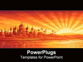 PowerPoint template displaying golden city under a golden sunset in the background.