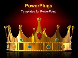 Golden crown with diamonds powerpoint template