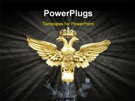 PowerPoint template displaying a large golden eagle statue with a crown on its head