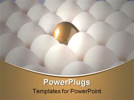 PowerPoint template displaying close-up of a golden egg between chicken eggs in the background.